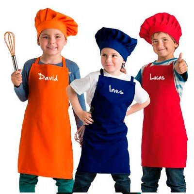 Delantal y gorro cocinero infantil
