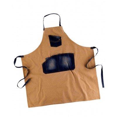 Delantal de lona con detalles en tela vaquera