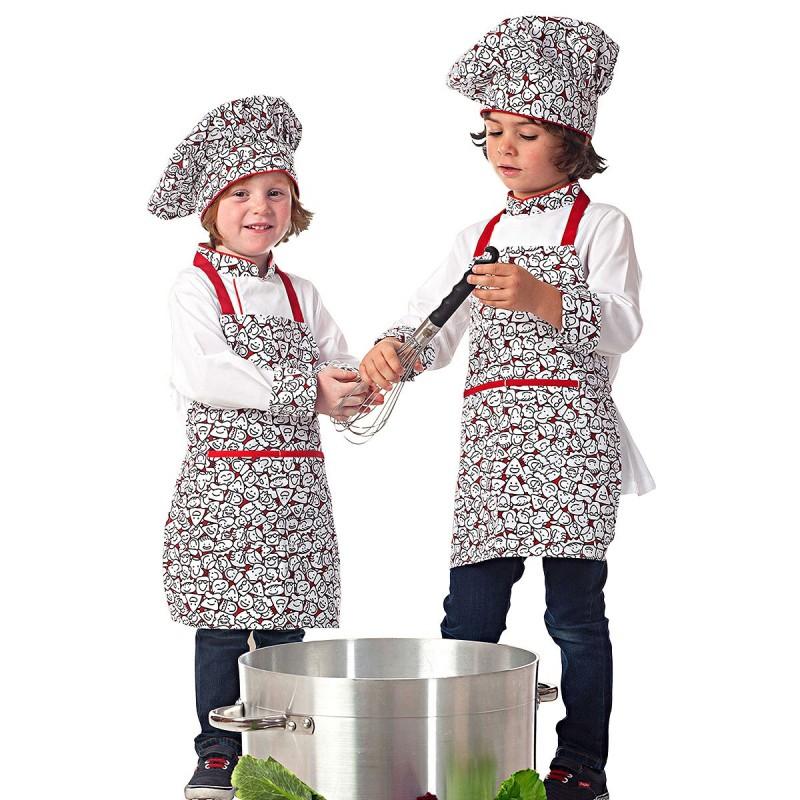 Veste de cuisine personnalisée, toque et tablier enfant