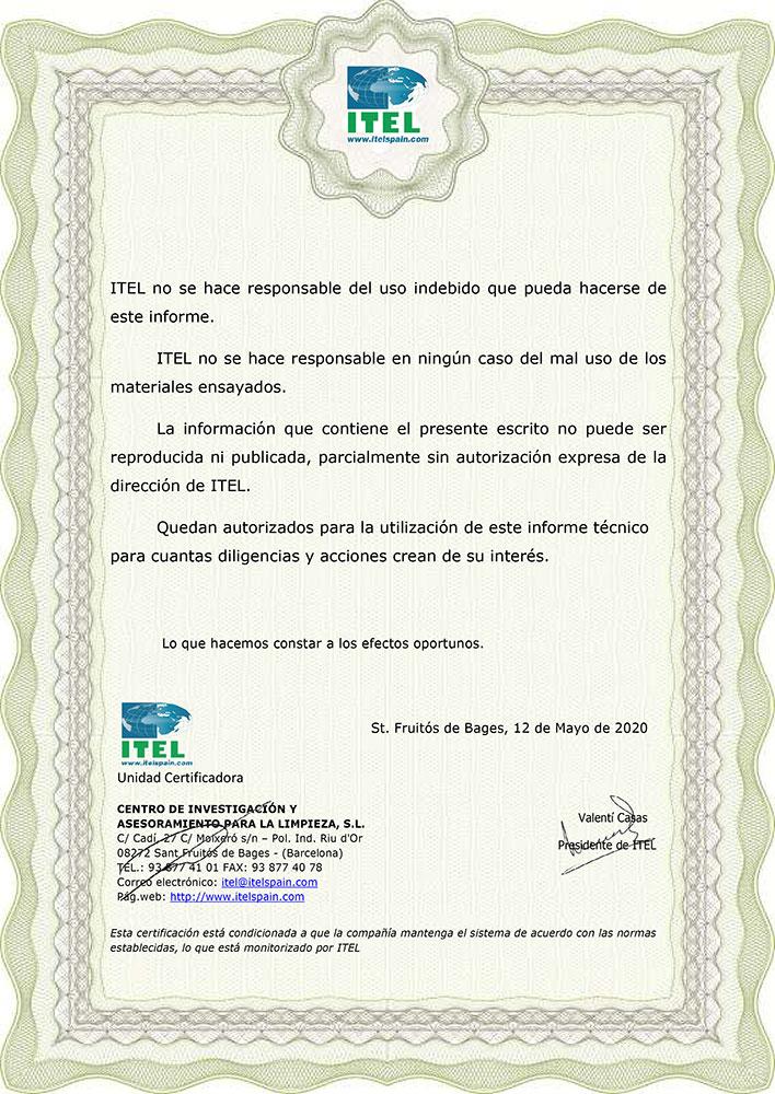 Certificado de Mascarillas Homologadas